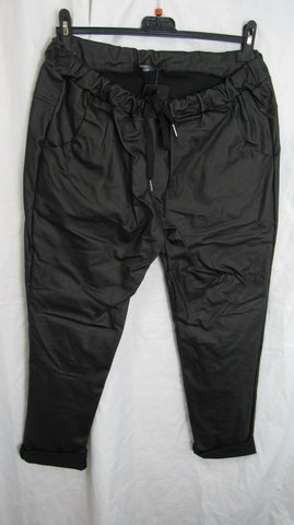 NEW Ladies Black Leather Look Stretchy Magic Trousers One Size Fits 14 16 18 20