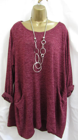 NEW Ladies Lagenlook PLUM POCKET Lightweight Tunic Jumper Top ONE SIZE FITS 16 18 20 22