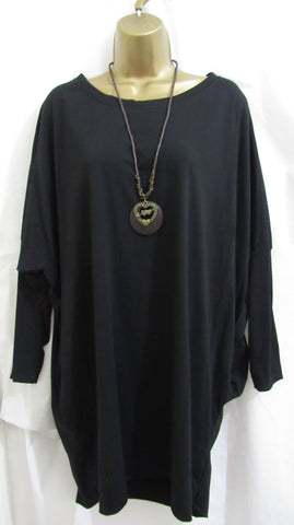 Ladies Italian Lagenlook Black Pocket Tunic Top Long Sleeved ONE SIZE FITS 14 16 18 20