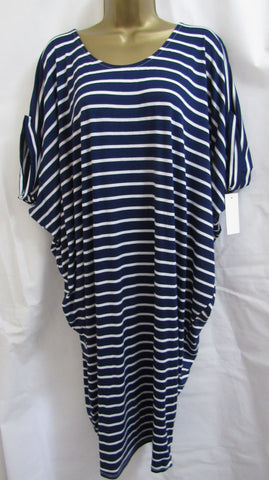 NEW Ladies Lagenlook BLUE WHITE STRIPE Key Hole Back Beach Sun Dress ONE SIZE FITS 12 14 16 18 20