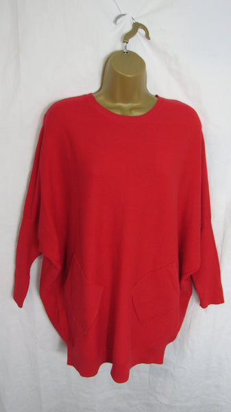 NEW Ladies Red Soft Rib down the back Pocket Jumper One Size Fits 12 14 16 18 20