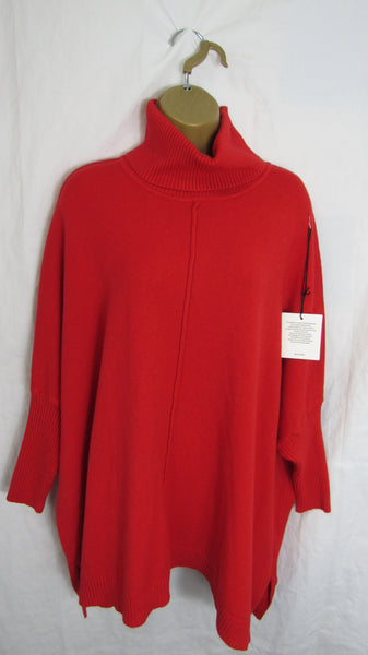 NEW Ladies Red Cowl Neck Soft Jumper One Size Fits 12 14 16 18 20