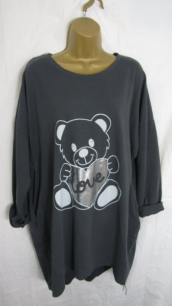 Ladies Italian Charcoal Grey Teddy Bear Tunic Top ONE SIZE FITS 14 16 18 20