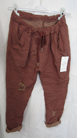 SALE SALE SALE NEW Ladies Brown Ripped Stretchy Magic Trousers One Size Fits 10 12 14 16 18