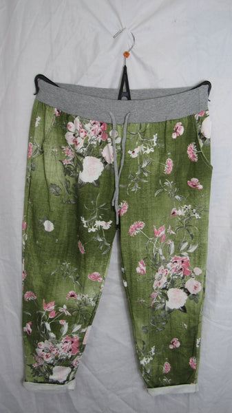 2 for £25 NEW Ladies Green Floral Ankle Grazers Joggers Leggings One Size Fits 16 18 20 Plus Size