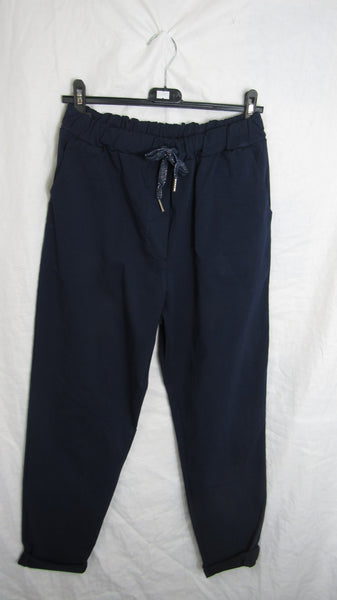 NEW Ladies Navy Blue Stretchy Magic Trousers One Size Fits 18 20 22 24 Plus Plus Size