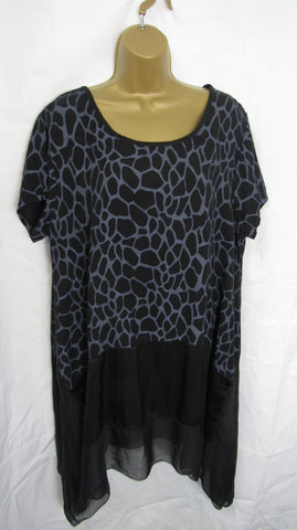 NEW Ladies Lagenlook Black Print Floaty Hankerchief Hem Tunic Top One Size Fits 14 16 18 20