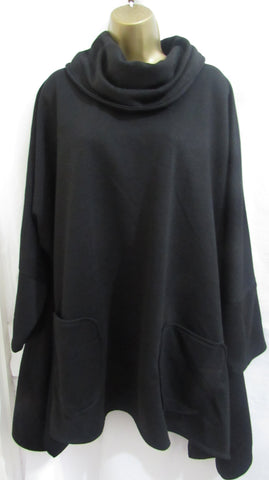 Ladies Italian Lagenlook Black Cowl Neck Pocket Tunic Jumper One Size Fits 16 18 20 22