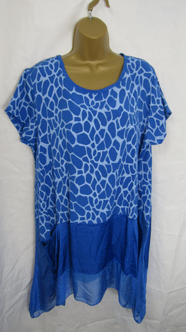 NEW Ladies Lagenlook Royal Blue Print Floaty Hankerchief Hem Tunic Top One Size Fits 14 16 18 20