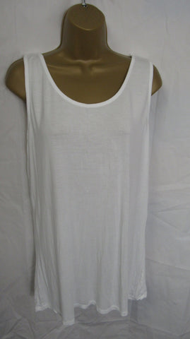 NEW Ladies Lagenlook White Sleeveless Long Top One Size Fits 10 12 14 16