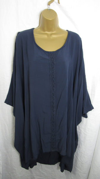 Sale Sale Sale NEW Ladies Womens Navy Blue Cold Shoulder Tunic Top One Size Fits 20 22 24 26 Plus Non Returnable