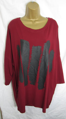 Ladies Italian Wine with Black Splash Tunic Top ONE SIZE FITS 10 12 14 16 18