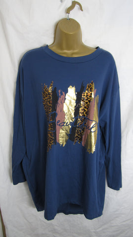 Ladies Italian Denim Blue Beautiful Tunic Top ONE SIZE FITS 10 12 14 16 18