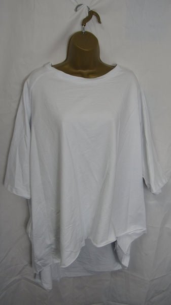 NEW Italian Angel Wing Print Baggy Oversized Hi-Lo White Cotton Lagenlook Top One size fits 18 20 22 24 26