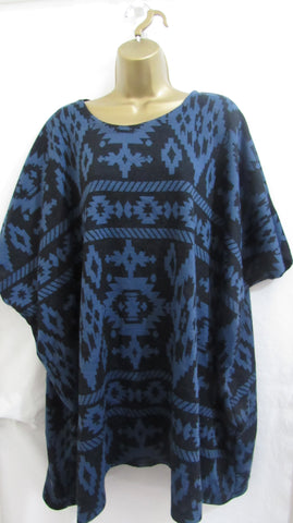 Ladies Italian Lagenlook Blue with Black Print Short Sleeved Tunic Jumper One Size Fits 18 20 22 24