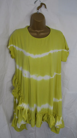 NEW Ladies Lagenlook Mustard Tie Dye Short Sleeved Frill Hem Tunic Top One Size Fits 14 16 18 20 22