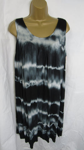 NEW Ladies Lagenlook Black Tie Dye Sleeveless Dress One Size Fits 14 16 18 20 22