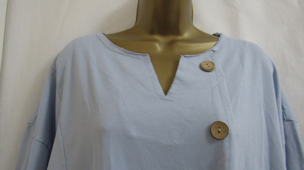 8b7507fbaa6 ... NEW Ladies Lagenlook Blue Button Pocket Tunic Top ONE SIZE FITS 14 16 18  20 ...