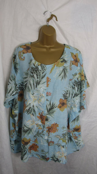 NEW Ladies Womens Baby Blue Floral Print Tunic Linen Top One Size Fits 16 18 20 22