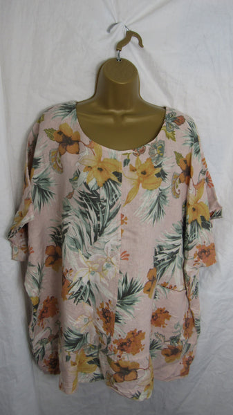 NEW Ladies Womens Dusky Pink Floral Print Tunic Linen Top One Size Fits 16 18 20 22