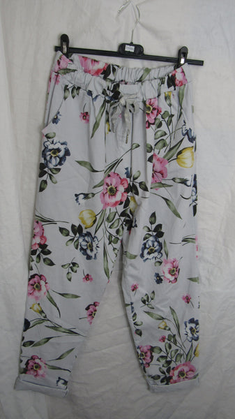 NEW Ladies Silver Grey Floral Stretchy Magic Trousers One Size Fits 20 22 24 Plus Plus Size
