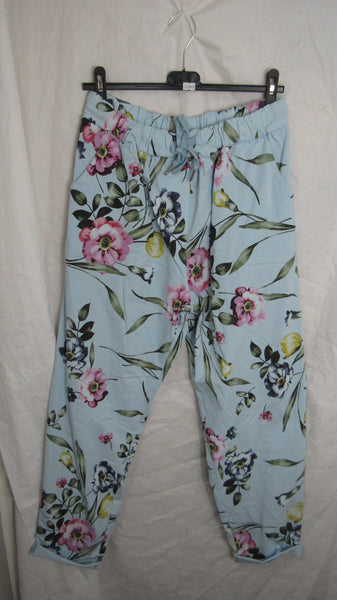 NEW Ladies Pale Blue Floral Stretchy Magic Trousers One Size Fits 20 22 24 Plus Plus Size