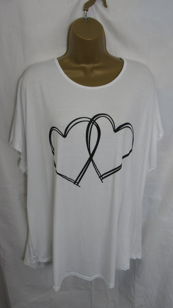 NEW Ladies Lagenlook White Double Heart T Shirt Top One Size Fits 12 14 16 18 20
