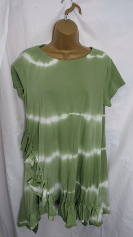 NEW Ladies Lagenlook Lime Green Tie Dye Frill Bottom Tunic Top One Size Fits 12 14 16 18 20 22
