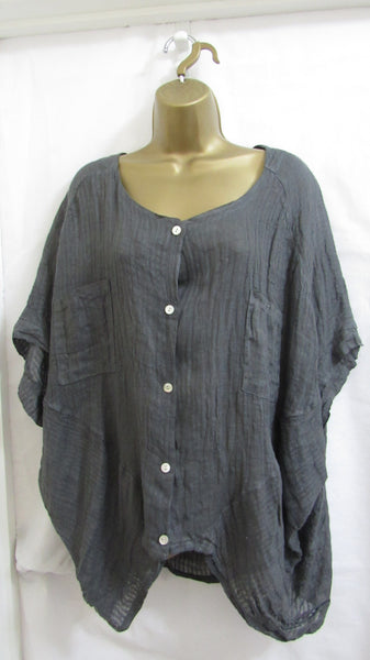 NEW Ladies Lagenlook Grey Cotton Button Up Tunic Top One Size Fits 12 14 16 18