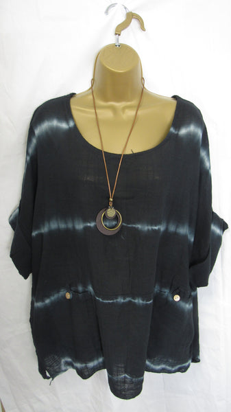 NEW Ladies Lagenlook Black Tie Dye Cotton Tunic Top One Size Fits 12 14 16 18