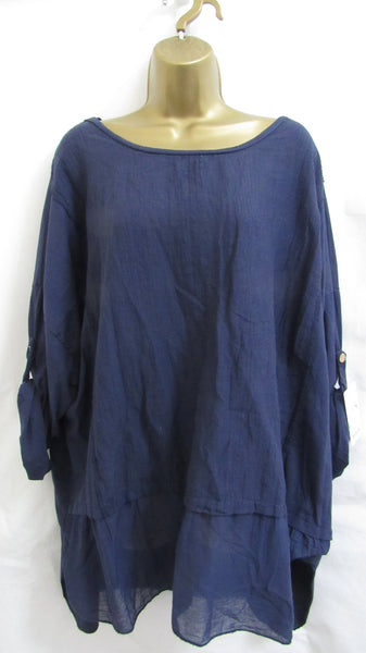 8242235b635 NEW Ladies Lagenlook Blue Tunic Dress Top One Size Fits 16 18 20 22 –  Michelle Chapman Clothing