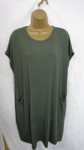 NEW Ladies Lagenlook Khaki Green Pocket Dress Tunic One Size Fits 12 14 16 18