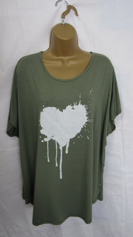 NEW Ladies Lagenlook Khaki Green Splashed Heart T Shirt Top One Size Fits 12 14 16 18 20