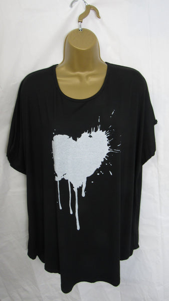 NEW Ladies Lagenlook Black Splashed Heart T Shirt Top One Size Fits 12 14 16 18 20