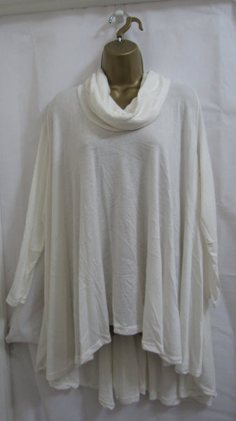 SALE SALE SAEL NEW Ladies Lagenlook WINTER WHITE COWL NECK SOFT HIGH LOW JUMPER ONE SIZE FITS 16 18 20 22 NON RETURNABLE