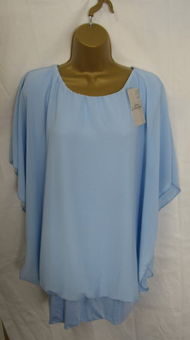NEW Ladies Lagenlook Blue Floaty Chiffon Tunic Top One Size Fits 16 18 20