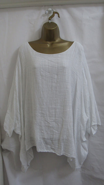NEW Ladies Italian Lagenlook WHITE Kaftan Poncho Top ONE SIZE FITS 14 16 18 20 22