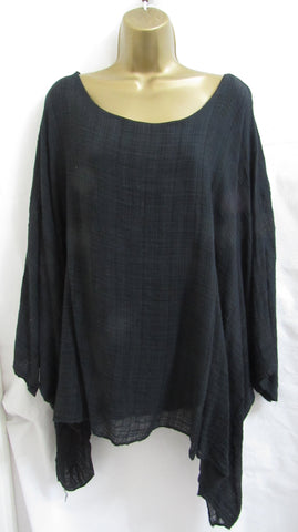 NEW Ladies Italian Lagenlook BLACK Kaftan Poncho Top ONE SIZE  14 16 18 20 22