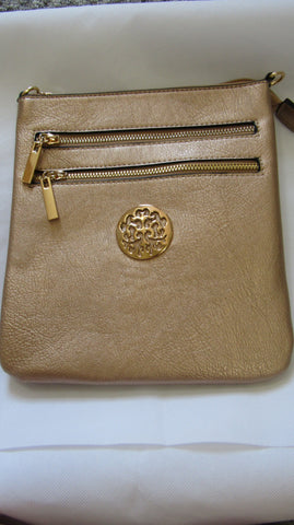 NEW Ladies ANTIQUE GOLD Faux Leather Handbag Cross Shoulder DOUBLE ZIP WITH LONG STRAP