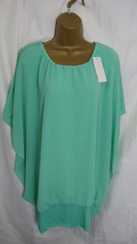 NEW Ladies Lagenlook Green Floaty Chiffon Tunic Top One Size Fits 16 18 20