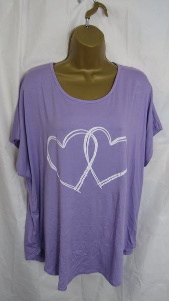 NEW Ladies Lagenlook Lilac Purple Double Heart T Shirt Top One Size Fits 12 14 16 18 20