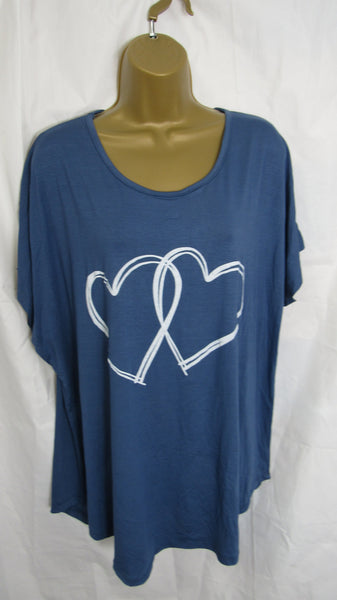 NEW Ladies Lagenlook Denim Blue Double Heart T Shirt Top One Size Fits 12 14 16 18 20