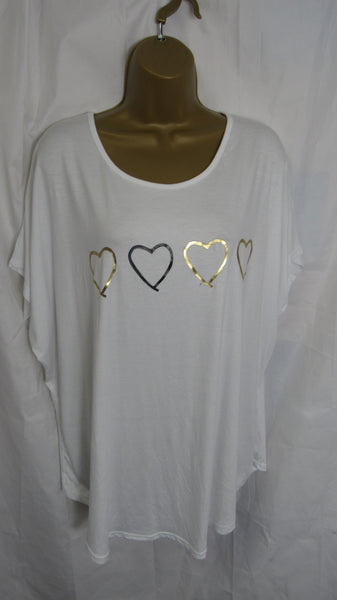 NEW Ladies Lagenlook White Four Heart T Shirt Top One Size Fits 12 14 16 18 20