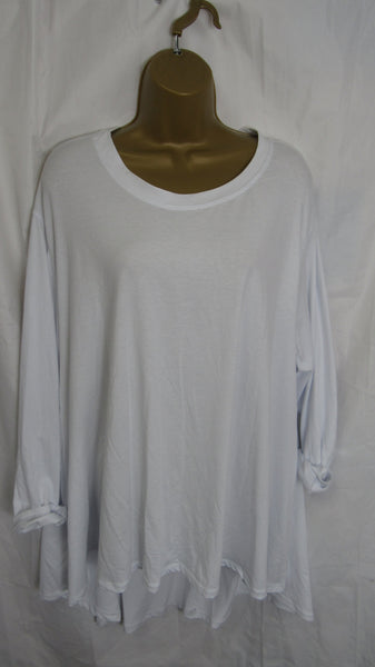 NEW Ladies Long Sleeve Pocket White High Low Swing Tunic Top One Size Fits 12 14 16 18 20 22