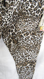 NEW Ladies Brown Animal Print Stretchy Magic Trousers One Size Fits 10 12 14 16 Smaller Size