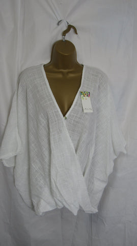 NEW Ladies White Button Cotton Wrap Top One Size Fits 12 14 16 18 20 Shorter Length