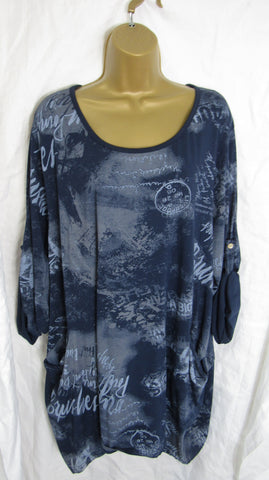 Ladies Italian Navy Blue Pattern Front Pocket Tunic Top One Size Fits 16 18 20 22