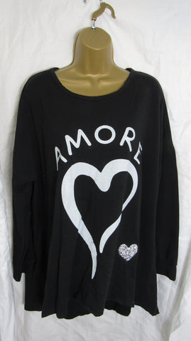 Ladies Italian Black Amore Heart Sweatshirt High Low Tunic Top One Size Fits 14 16 18 20