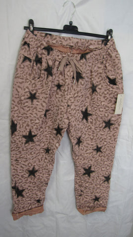 NEW Ladies Pink Leopard Print with Stars Stretchy Magic Trousers One Size Fits 18 20 22 PLUS SIZE