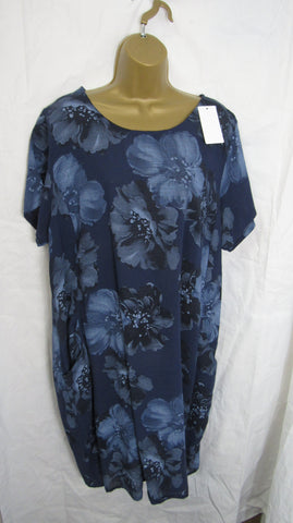 NEW Ladies Blue Floral Cotton Pocket Dress One Size Fits 12 14 16 18